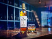 Macallan highland single malt scotch whisky with dram