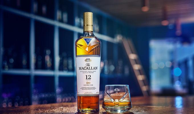 Macallan highland single malt scotch whisky with dram